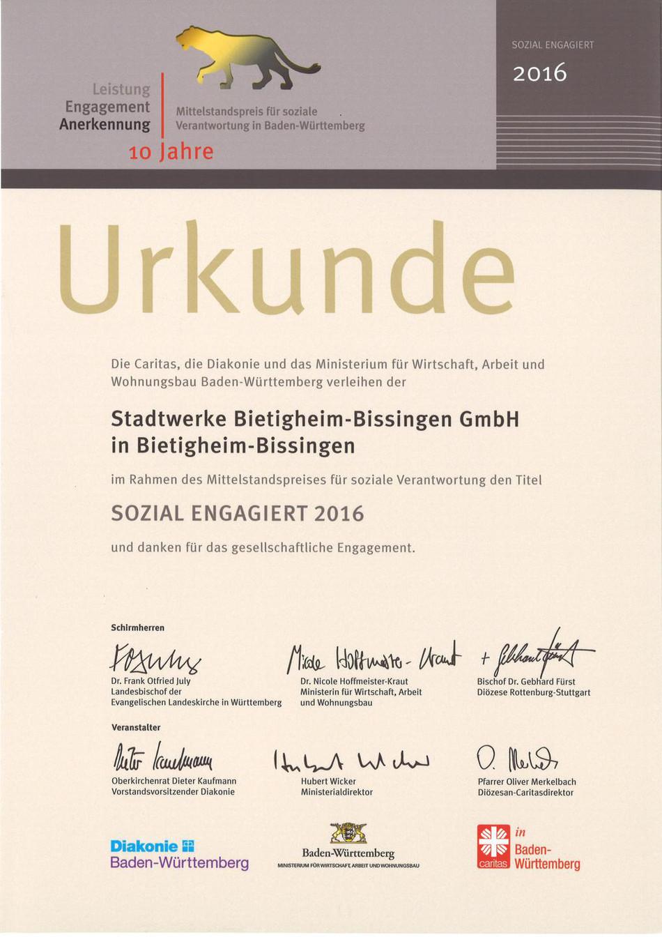 Urkunde LEA Mittelstandspreis 2016
